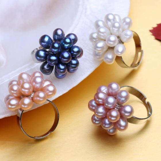 Nhẫn Ngọc trai Thiên nhiên Cao cấp - Chùm dâu - MulberriesPearl (4.5-5ly) - CTJ0113