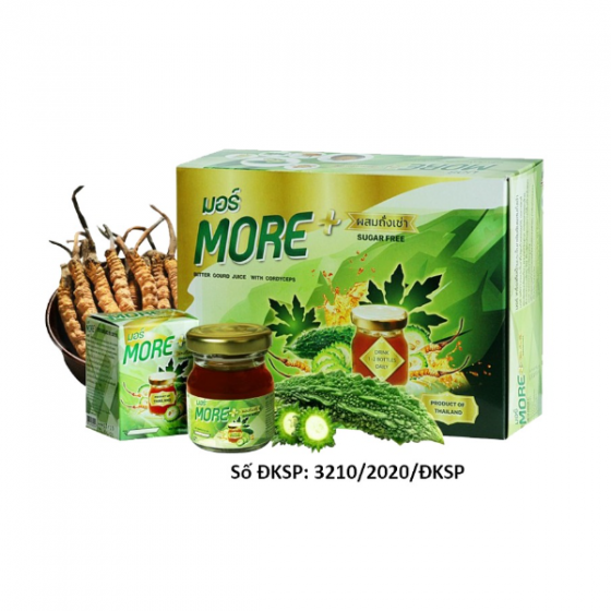 Thực phẩm BVSK MORE - Bitter Gourd Juice With Cordyceps (chiết xuất khổ qua rừng và đông trùng hạ thảo) hỗ trợ tiểu đường