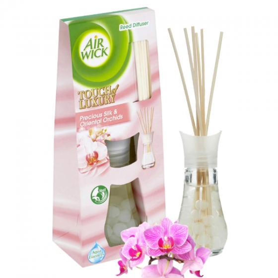 Bộ khuếch tán tinh dầu que mây Air Wick Precious Silk and Oriental Orchids 30ml QT06522 - lụa, hoa phong lan