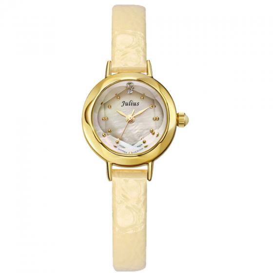Đồng hồ nữ dây da ja-482 ( vàng kem)