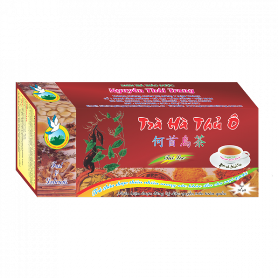 Trà hà thủ ô trị bạc tóc -hộp 50 túi lọc x 2g-Nguyên Thái Trang – thảo dược thiên nhiên– tốt cho sức khỏe