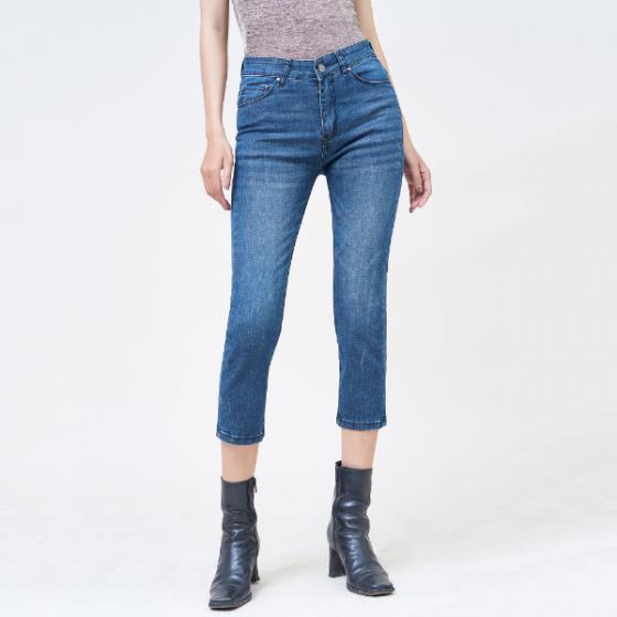 Quần jean nữ ống đứng lửng lưng cao màu army blue - Aaa Jeans
