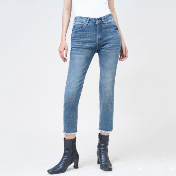 Quần jean nữ lưng cao ống đứng lửng gotham blue - Aaa Jeans