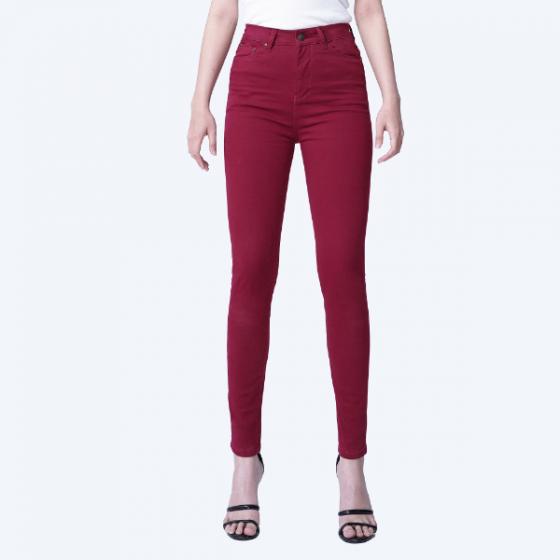 Quần kaki nữ dáng skinny ôm màu bordeaux - Aaa Jeans