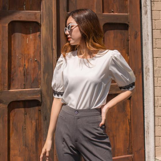 Áo kiểu nữ thời trang Eden tay phối ren - ASM127