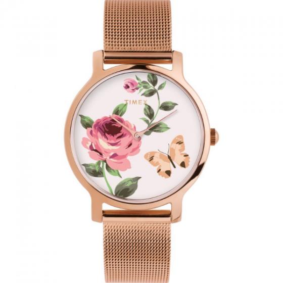 Đồng hồ Timex Full Bloom Steel Gold Rose White TW2U19000