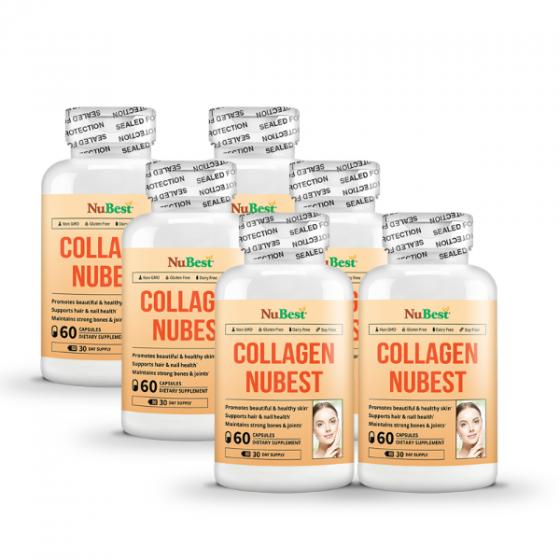 Combo 5 tặng 1 - thực phẩm bảo vệ sức khỏe giúp hỗ trợ đẹp da Collagen của Mỹ NuBest - hộp 60 viên