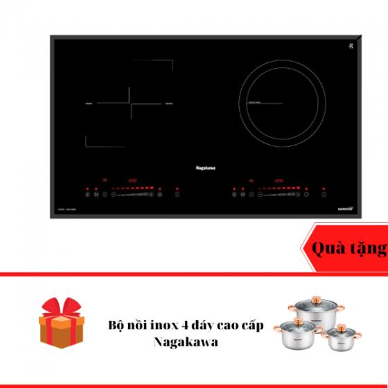 Bếp đôi điện từ hồng ngoại inverter Nagakawa NAG1252M - bảo hành 5 năm - tặng bộ nồi inox 4 đáy