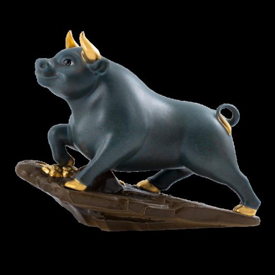 Tượng Trâu Thịnh Vượng t.t vàng (25 cm) Màu Hỏa Biến Xanh Gốm Sứ Cao Cấp Minh Long I
