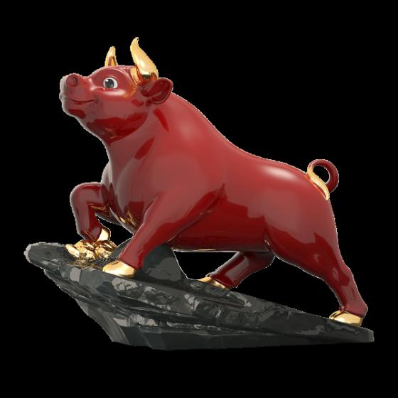 Tượng Trâu Thịnh Vượng t.t vàng (25 cm) Màu đỏ Gốm Sứ Cao Cấp Minh Long I