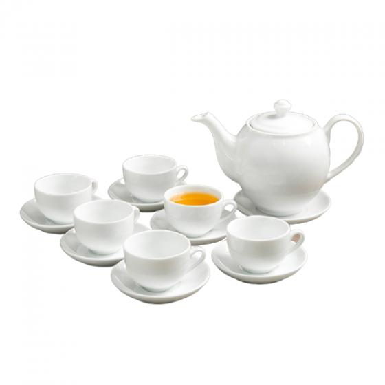 Bộ trà tròn trắng Sứ sương lớn 0.9L SSA019