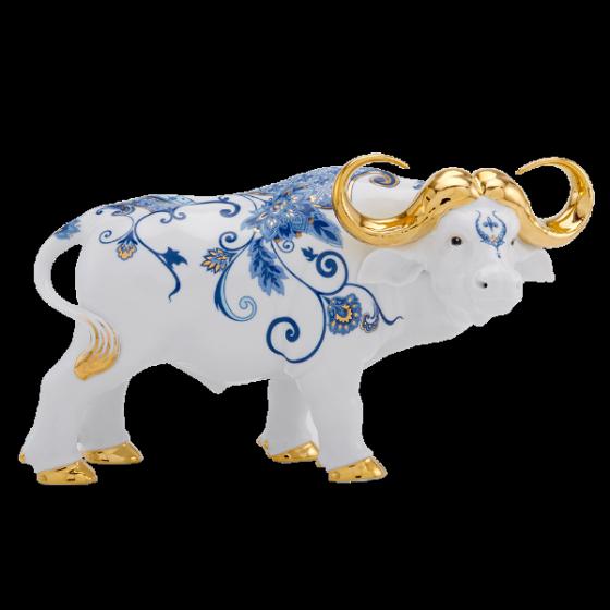 Tượng Trâu Vương Giả trang trí vàng 30 cm Sen Cobalt Gốm sứ cao cấp Minh Long I