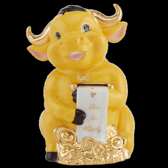 Tượng Trâu Hạnh Phúc trang trí vàng 9.5 cm Màu vàng nghệ Gốm sứ cao cấp Minh Long I