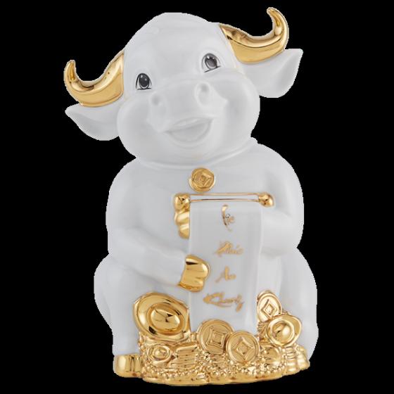 Tượng Trâu Hạnh Phúc trang trí vàng 16 cm Trắng Gốm sứ cao cấp Minh Long I