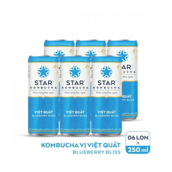 Lốc 6 lon thức uống lên men STAR KOMBUCHA Việt Quất - Blueberry Bliss