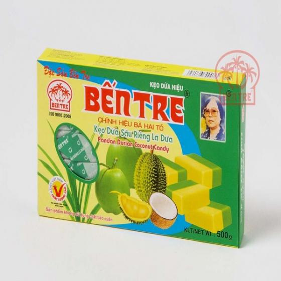 Kẹo dừa Bà Hai Tỏ Bến Tre - vị Sầu Riêng Lá Dứa 500gr