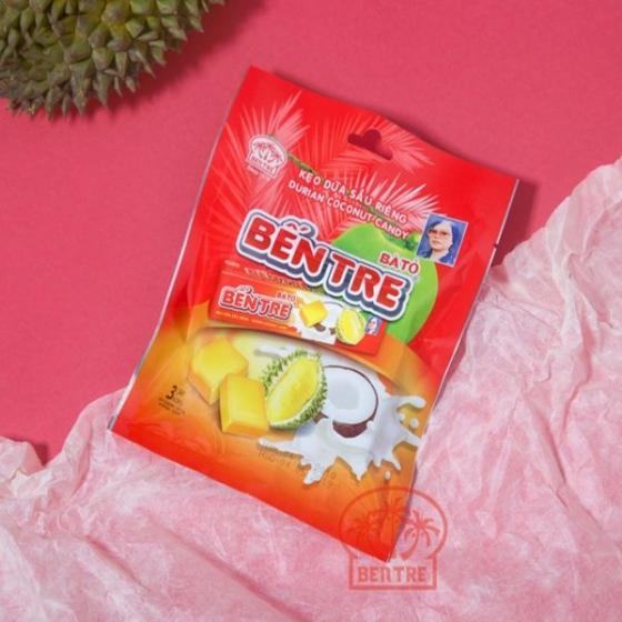 Combo 03 gói - 09 Thanh kẹo dừa hiệu Bà Hai Tỏ Bến Tre - vị Sầu Riêng (một thanh 10 viên)