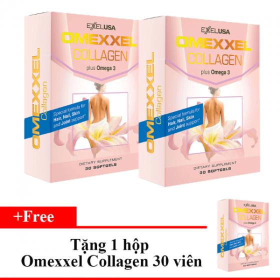 Combo 2 hộp  viên uống bổ sung Collagen, chống lão hóa Omexxel Collagen (60 viên) - Xuất xứ Mỹ-Tặng 1 Omexxel Collagen