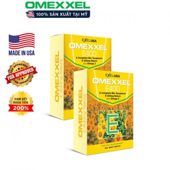 Combo 2 hộp viên uống bổ sung Vitamin E giúp đẹp da, chống lão hóa Omexxel E400 (60 viên)