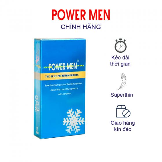 Bao cao su Powermen siêu mỏng, kéo dài hương bạc hà mát lạnh INVI 0.03 Frozen Hộp 12 bao