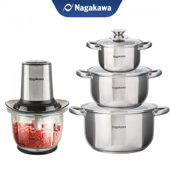 Combo ưu đãi - Máy xay thịt Nagakawa NAG0812 và Bộ 3 nồi inox cao cấp 4 đáy NAG1304