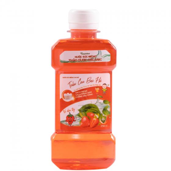 Combo 5 chai Nước súc miệng cho bé trầu cau bạc hà (vị dâu tây)