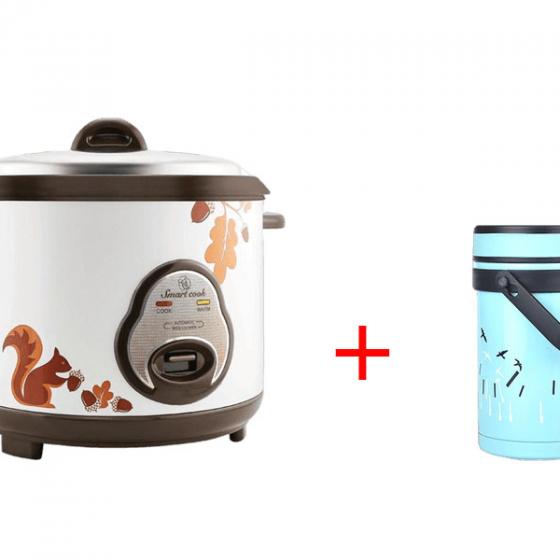 Combo Nồi cơm điện Smartcook 1.2L RCS-1786 + Bình đựng thức ăn giữ nhiệt 1500ml EL7284