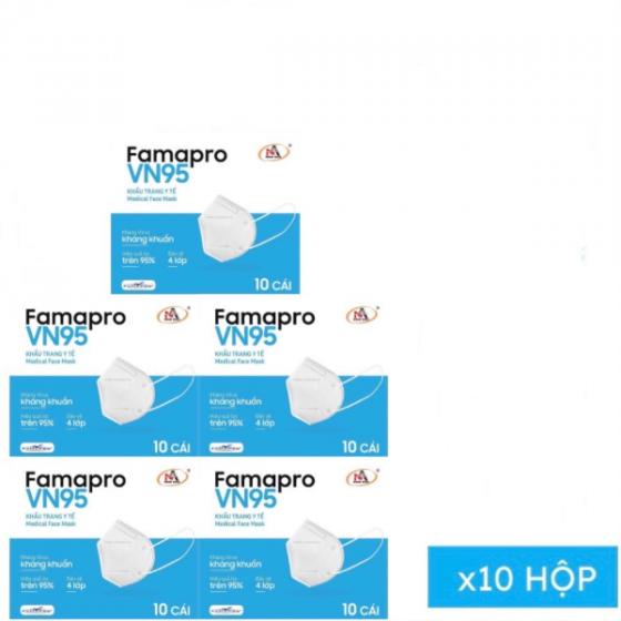 Combo 10 hộp khẩu trang kháng khuẩn Famapro VN 95 mẫu mới (hộp 10 cái)