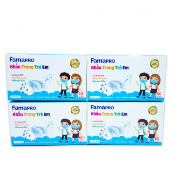 Combo 4 hộp khẩu trang y tế kháng khuẩn Famapro Max Kid tiêu chuẩn xuất khẩu (hộp 50 cái)