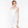Đầm ren ôm Amun tay sát nách phối bèo màu trắng DOM236-TRANG