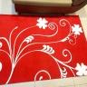 Thảm nhung 3D nền đỏ dây leo trắng Binbin TSN15 ( 120 x 160cm)