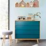 Tủ ngăn kéo Senja Vintage gỗ tự nhiên 4 ngăn màu xanh dương - Cozino