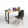 Bộ bàn Rec-T đen 1m2 và ghế Eames chân gỗ - IBIE