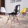 Bộ bàn Rec-U trắng màu cánh gián gỗ cao su và ghế Eames chân gỗ trắng