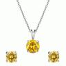Opal - mặt kèm dây chuyên bạc và hoa tai bạc đính đá ross vàng_T11