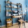 Bộ bàn liền kệ 3 món NB-Blue gỗ tự nhiên