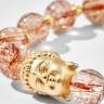 Vòng tay thạch anh tóc đỏ charm Phật Ngọc Quý Gemstones