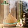 Máy khuếch tán tinh dầu giọt nước lớn gỗ vàng Lorganic FX2022 + tinh dầu sả chanh + tinh dầu cam Lorganic (10ml x2)