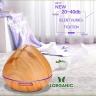 Máy khuếch tán tinh dầu quả đào gỗ vàng Lorganic FX2024 + tinh dầu sả chanh + bưởi + cam (10mlx3)