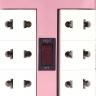 Ổ cắm xoay 90° Điện Quang ĐQ ESK RT 6WP (6 lỗ, màu hồng trắng)