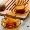 Bộ 6 tách và dĩa thủy tinh chịu lực Duralex Pháp lys hổ phách 180 ml