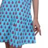 Đầm suông chất thô màu xanh da trời in họa tiết có thắt nơ phía sau Angeli Phạm hàng chính hãng
