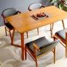 Bộ bàn ăn Kai màu walnut 4 ghế