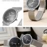 Đồng hồ cặp Julius Hàn Quốc dâ thép nhuyễn JA-426D ( bạc mặt đen)