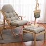 Gác chân ghế lười gỗ sồi - Ghi xám