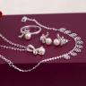 Opal - Bộ dây chuyền bạc đính ngọc trai hình nơ xinh_t7