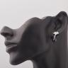 Opal - hoa tai bạc đính đá Ross và ngọc trai đen ánh xanh - T07