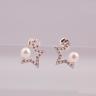 Opal - hoa tai bạc kết hợp ngọc trai - HT06