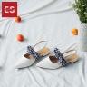 Giày nữ, giày sandal nữ đế bệt mũi nhọn phối nơ thời trang Erosska EL007 (WH)