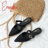 Giày nữ, giày mules cao gót Erosska da lộn phối belt thời trang cao 2cm - EM023 (NU)